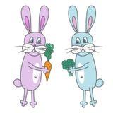 Doodle wzór Królik z warzywami Kolorowy wektorowy illustra Zdjęcia Stock