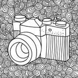 Doodle wzór z czarny i biały fotografii kamery wizerunkiem dla barwić royalty ilustracja