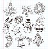 Doodle xmas element icon set. Cartoon vector illustration stock illustration