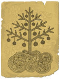 Doodle xmas tree. Hand drawn retro style xmas tree on old paper Stock Photography