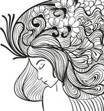 Doodle young woman portrait Royalty Free Stock Photos
