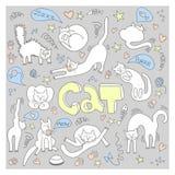Doodle z ślicznymi kotami ilustracja wektor