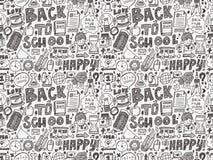 Doodle z powrotem szkoła bezszwowy wzór Zdjęcie Royalty Free