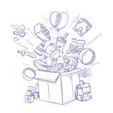 Doodle zakupy pudełko z udziałem children zakupy i zabawka Ręka rysująca wektorowa ilustracja ilustracja wektor
