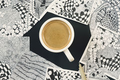 Doodle, zen tangle illustration. Zen art, doodle pattern for the beginners. Sketch illustrations, a pencil and a cup of coffee on. Doodle, zen tangle Royalty Free Stock Photos