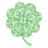 Doodle zentangle clover shamrock Saint Patrick's Day  isolated Stock Image