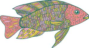 Doodle zentangle fish. Zen art coloring page for adults. Stock Photo
