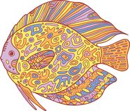 Doodle zentangle fish. Zen art coloring page for adults. Royalty Free Stock Photography