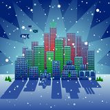 Doodleburg Xmas. A stylized city at Christmas time Stock Photo
