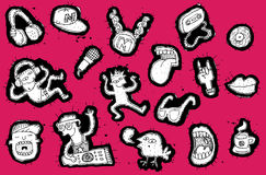 Doodled музыкальные элементы с собранием людей партии Стоковая Фотография