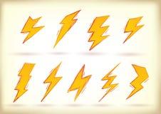 Doodled удары молнии Стоковые Фотографии RF