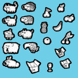 Doodled Animals and Fruits Collection Royalty Free Stock Image