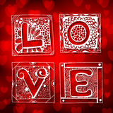 Doodled cards with letters. Hand - drawn cards with various floral and geometrical patterns with letters forming word Love on red bokeh background. Valentine Royalty Free Stock Image