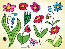 Doodled flowers Stock Image