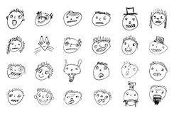 Doodled funny stick figure faces. Hand drawn ugly funny stick figure faces. Different emotional characters. Vector outline illustration Royalty Free Stock Images