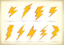 Doodled lightning bolts Royalty Free Stock Photos