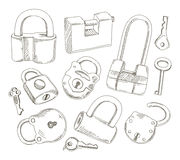 Doodled set of Different Locks and Keys Royalty Free Stock Image