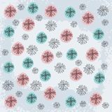 Doodled Snowflakes, original hand-drawn Royalty Free Stock Photos