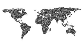 Doodled world map Royalty Free Stock Images
