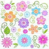doodles καθορισμένο περιγραμματικό διάνυσμα σημειωματάριων λουλουδιών διανυσματική απεικόνιση