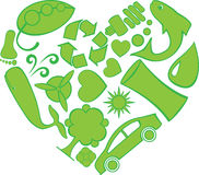 doodles καρδιά eco Διανυσματική απεικόνιση