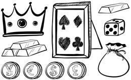 Doodles που τίθεται με την κορώνα και τα νομίσματα ελεύθερη απεικόνιση δικαιώματος