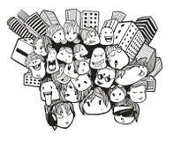 Doodles στο υπόβαθρο των σπιτιών πολυόροφων κτιρίων Στοκ Φωτογραφίες
