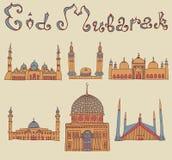 Doodles των μουσουλμανικών τεμενών Στοκ Εικόνες