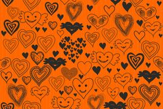 doodles вектор сердец безшовный Стоковая Фотография