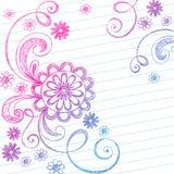doodles выровняли схематичное тетради бумажное Стоковое Фото