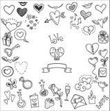 Doodles влюбленности и сердец Стоковое Фото