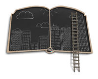 Doodles города на balckboard формы книги стоковое изображение