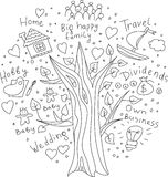 Doodles дерево мечт и целей Стоковое фото RF
