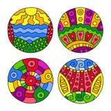 Doodles заполнили установленные круги иллюстрация штока