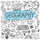 Doodles землеведения нарисованные рукой задняя школа иллюстрации, котор нужно vector Стоковое Изображение RF