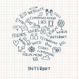 Doodles интернета в круге Стоковое Изображение RF