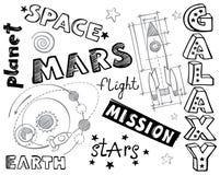 Doodles - иллюстрации и слова космоса Стоковая Фотография