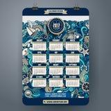 Doodles календарь шаржа морской морской 2017 год Стоковое Фото