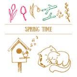 Doodles контура весны нарисованные рукой, иллюстрация вектора бесплатная иллюстрация