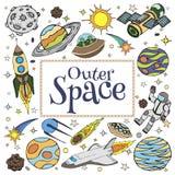 Doodles космического пространства, символы и элементы дизайна Стоковое Изображение RF