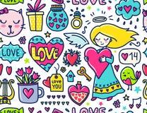 Doodles милая безшовная картина иллюстрация штока