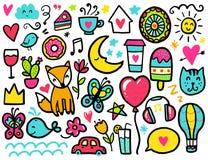 Doodles милые элементы бесплатная иллюстрация