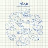 Doodles мяса - приданная квадратную форму бумага Стоковое Изображение