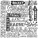 Doodles - нарисованные вручную слова космоса Стоковые Изображения