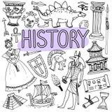 Doodles нарисованные рукой для лекций по истории задняя школа иллюстрации, котор нужно vector Стоковая Фотография