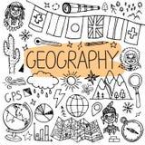 Doodles нарисованные рукой для уроков землеведения задняя школа иллюстрации, котор нужно vector Стоковое Изображение RF