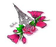 Doodles Парижа иллюстрация вектора