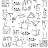 Doodles притяжки руки музыки Стоковые Фотографии RF