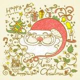 Doodles ретро стиля с Рождеством Христовым иллюстрация вектора