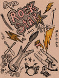 doodles рок-звезда Стоковые Изображения